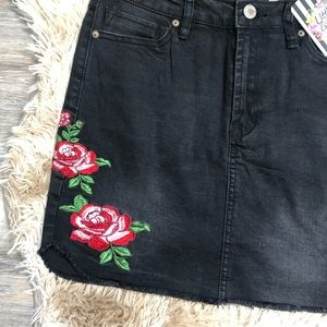6aa44accfc Vintage Skirts | Little Gypsie Black Denim Floral Embroidered Skirt ...